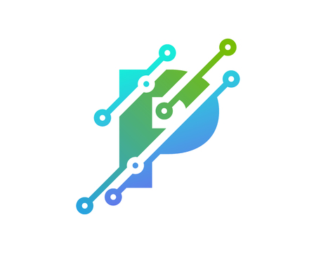P Digital Letter Technology Logo Icon Design