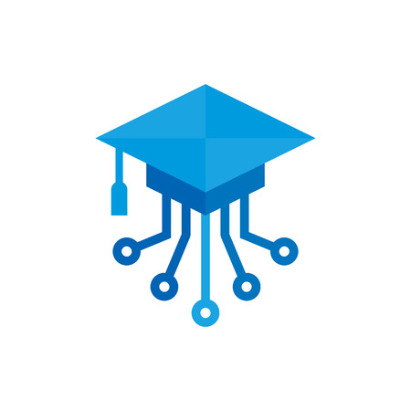 School Digital Logo Icon Design Vectores