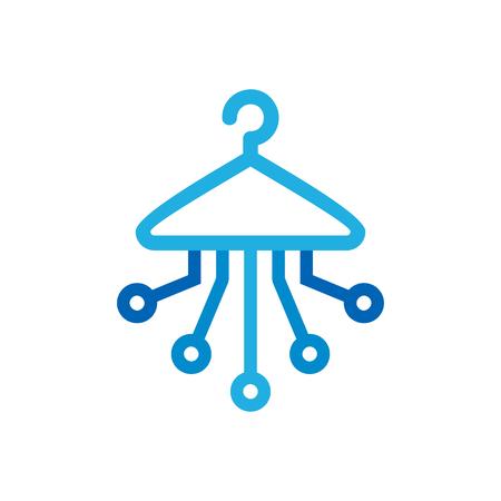 Laundry Digital Logo Icon Design Illustration
