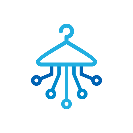 Laundry Digital Logo Icon Design Stock Illustratie