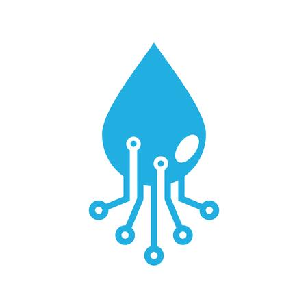Water Digital Logo Icon Design Illustration