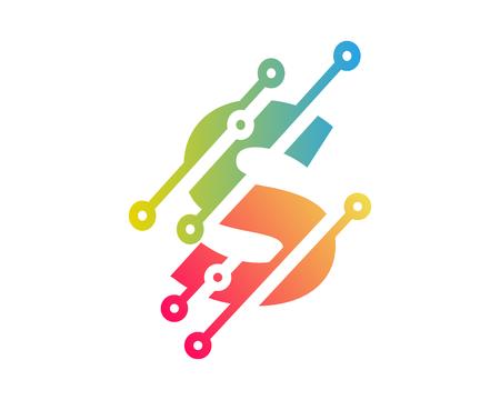 S Digital Letter Technology Logo Icon Design
