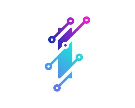 I Digital Letter Technology Logo Icon Design Illustration