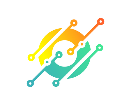 O Digital Letter Technology Logo Icon Design Ilustração