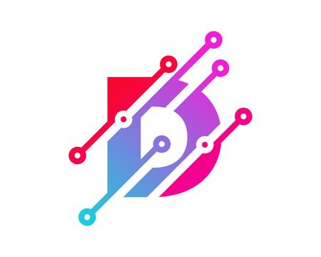 D Digital Letter Technology Logo Icon Design