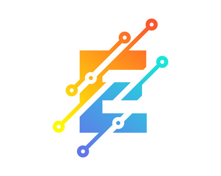 Digital Letter E Technology Icon Design illustration on white background. Illustration