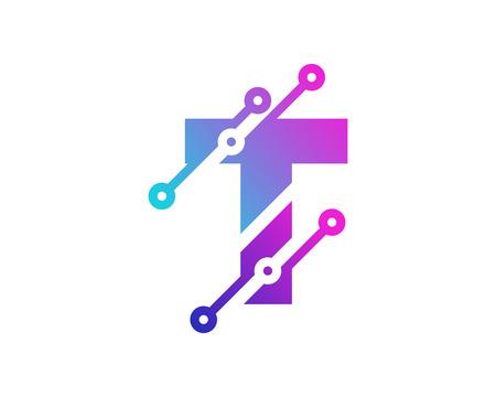 T Digital Letter Technology Icon Design illustration on white background.