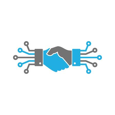 Projekt ikony cyfrowego logo uścisku dłoni Logo