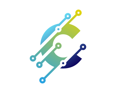 C Digital Letter Technology Logo Icon Design  イラスト・ベクター素材