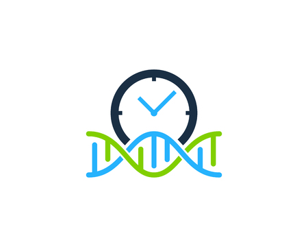 Clock Dna Logo Icon Design 向量圖像