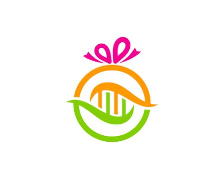 Ribbon Dna Logo Icon Design Illustration