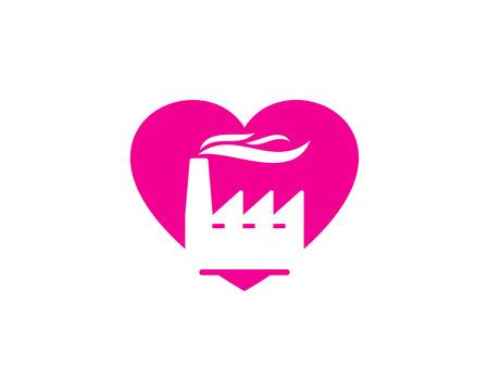 Heart Factory Logo Icon Design Illustration