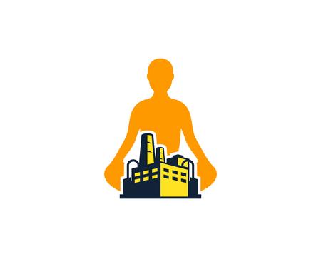 Yoga factory icon design.  イラスト・ベクター素材