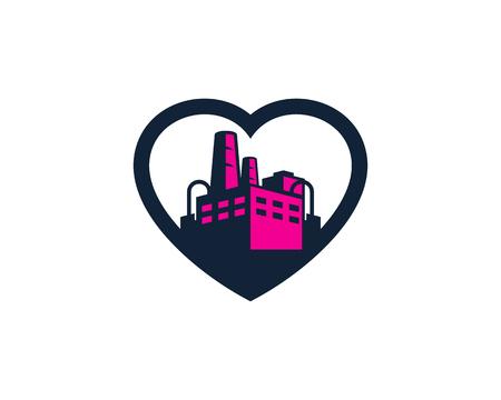 Romantic factory icon design. Illustration