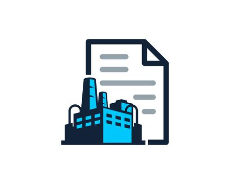 Diseño de icono de logotipo de fábrica de documentos