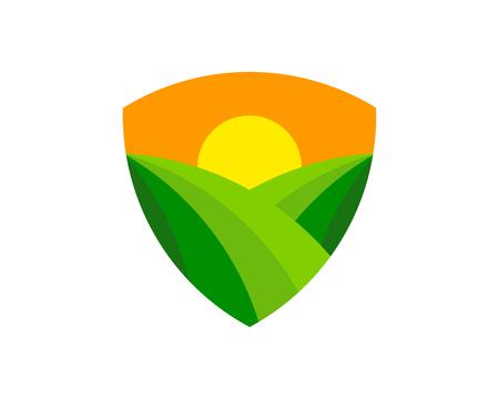 Shield farm icon design.