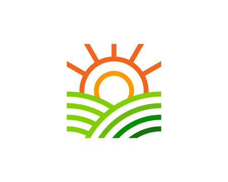Sunny farm icon design.