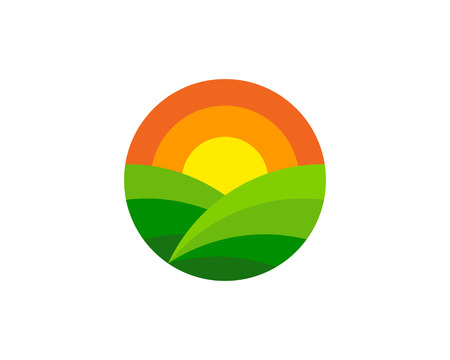 Circle agriculture Logo Icon Design Vettoriali