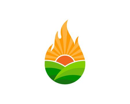 Fire farm icon design.