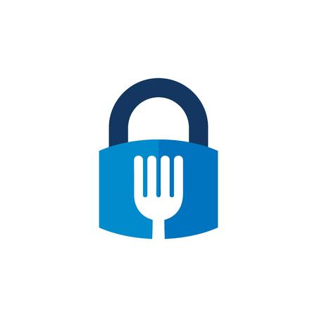 Lock Food Logo Icon Design