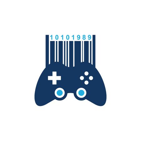 Barcode Game Logo Icon Design Çizim