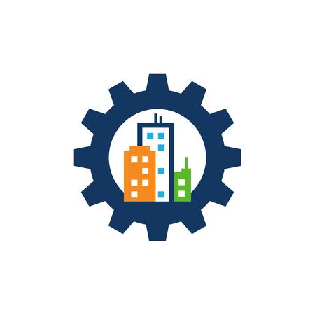 City Gear Logo Icon Design Stock Illustratie