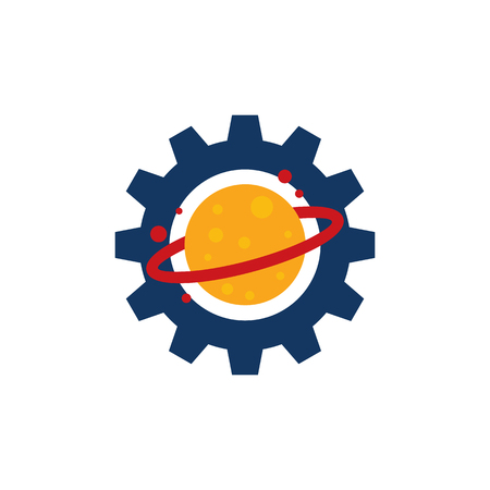 Planet Gear Logo Icon Design Illustration