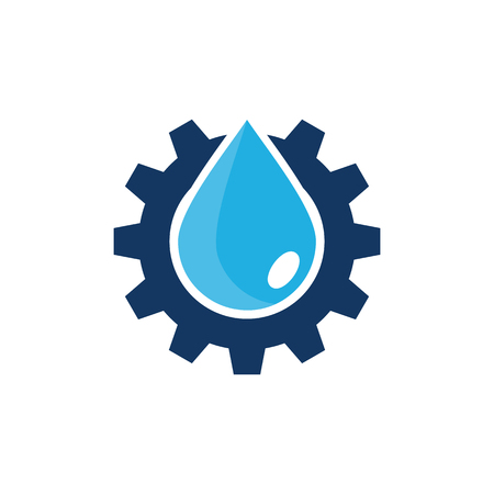 Water Gear Logo Icon Design 矢量图像