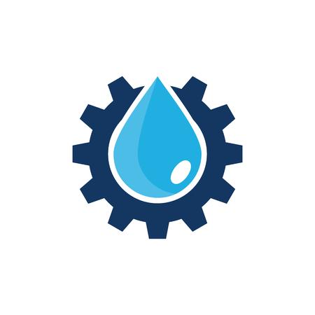 Water versnelling embleemontwerp pictogram Vector Illustratie