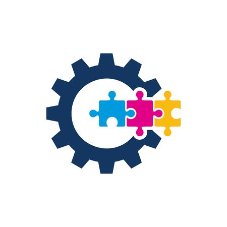 Puzzle Gear Logo Icon Design