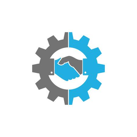 Conception d'icône de logo d'engrenage de poignée de main