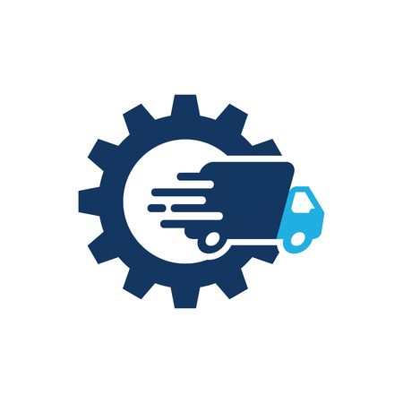Delivery Gear Logo Icon Design Illustration