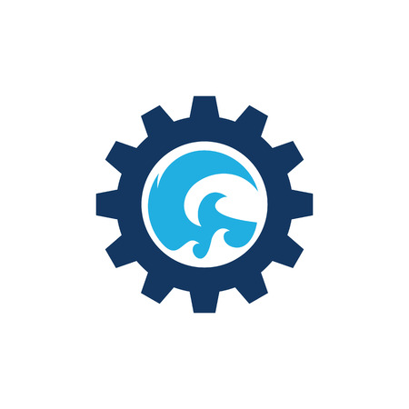 Wave Gear Logo Icon Design