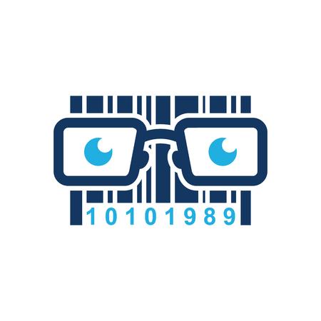 Barcode Geek Logo Icon Design 向量圖像