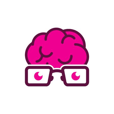 Brain Geek Logo Icon Design Иллюстрация