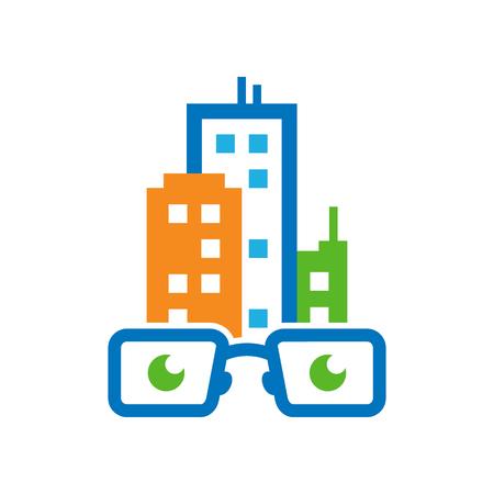 Town Geek Logo Icon Design Stock Illustratie
