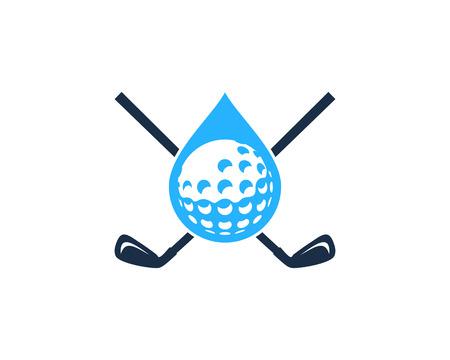 Drop Golf Logo Icon Design Ilustração