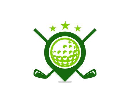 Diseño de icono de logotipo de golf de punto