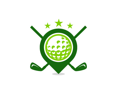 Point Golf Logo Icon Design 向量圖像