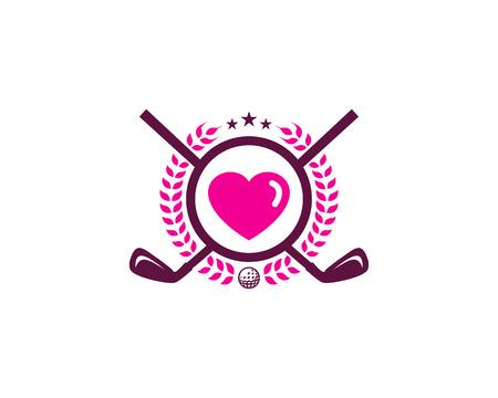 Heart Golf Logo Icon Design Illustration