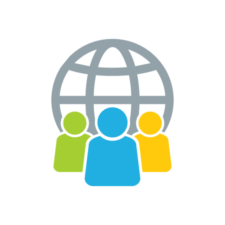 Globe Group Logo Icon Design Stock Illustratie