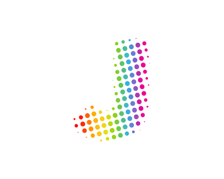 J Halftone Letter Colorful Dot Logo Icon Design Stock fotó - 101449523