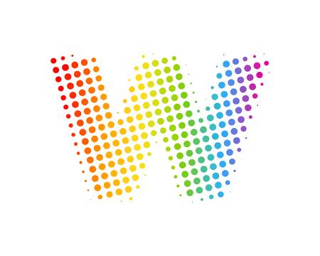 W Halftone Letter Colorful Dot Logo Icon Design Ilustrace