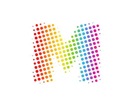 M Halftone Letter Colorful Dot Logo Icon Design