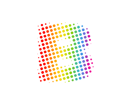 B Halftone Letter Colorful Dot Logo Icon Design Vectores