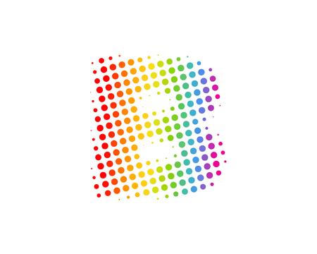 B Halftone Letter Colorful Dot Logo Icon Design Vettoriali
