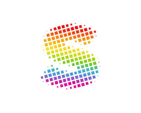 S Halftone Letter Colorful Dot Logo Icon Design