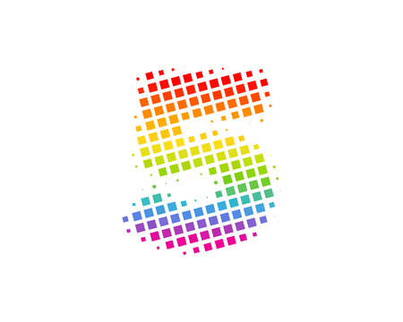 5 Halftone Letter Colorful Dot Logo Icon Design