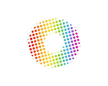 O Halftone Letter Colorful Dot Logo Icon Design Ilustração