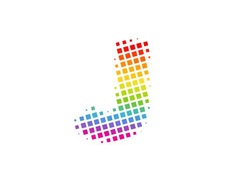 J Halftone Letter Colorful Dot Logo Icon Design